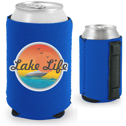 royal blue magnetic can koozie with lake life boat and sunset design