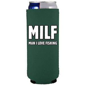 slim can koozie with milf fishing design