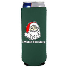 Load image into Gallery viewer, slim can koozie with i watch you sleep santa christmas design