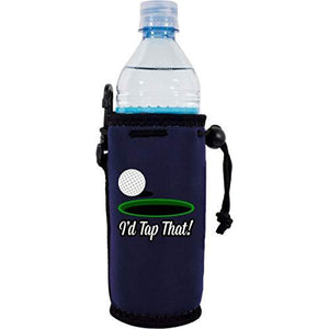 "navy blue water bottle koozie with funny golf ball and ""i'd tap that"" text design"