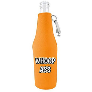 Whoop Ass Beer Bottle Coolie With Opener