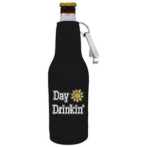 "black beer bottle koozie with opener and ""day drinkin"" funny text design"