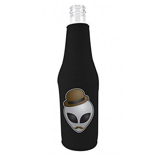 black zipper beer bottle koozie with alien in disguise design