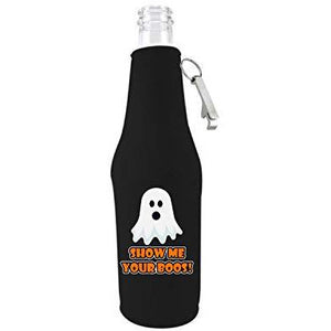 beer bottle koozie with opener with show me your boos design