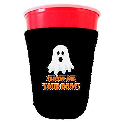 black party cup koozie with show me your boos design