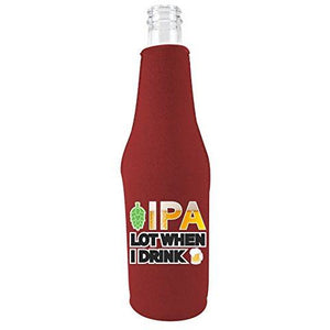 Burgundy zipper beer bottle with ipa lot when i drink design