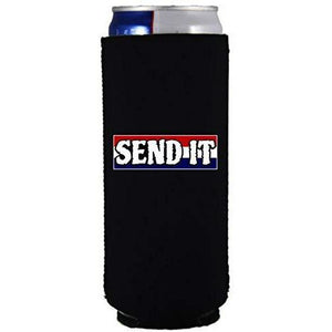 "Black slim can koozie with ""send it"" text with red white and blue background design"