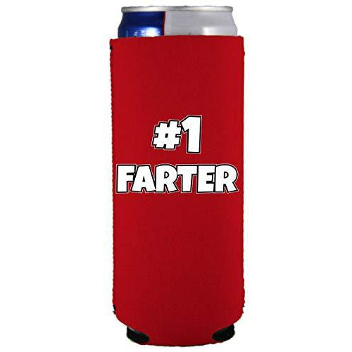 slim can koozie with #1 farter design