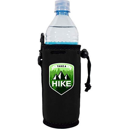 black water bottle koozie with take a hike design, mountains and trees graphic