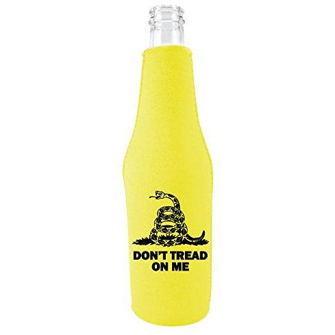 yellow zipper  beer bottle with dont tread on me design