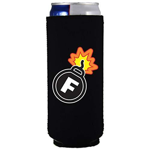 black slim can koozie with f bomb funny design