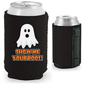 black magnetic can koozie with funny halloween ghost and show me your boos text