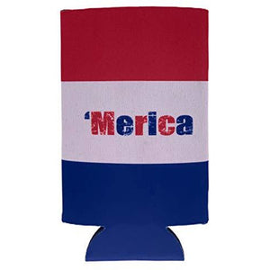'Merica Striped Pattern 16 oz. Can Coolie