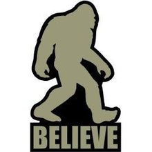 Load image into Gallery viewer, vinyl sticker with bigfoot believe design