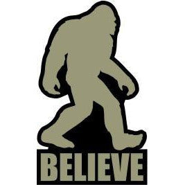 vinyl sticker with bigfoot believe design