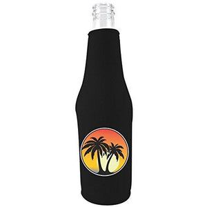black zipper beer bottle koozie with palm tree sunset design