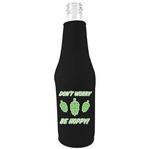 Don't Worry Be Hoppy! Beer Bottle With Opener Coolie