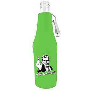 I'm Retired Beer Bottle Coolie With Opener