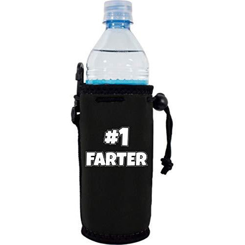 black water bottle koozie with number one farter funny design