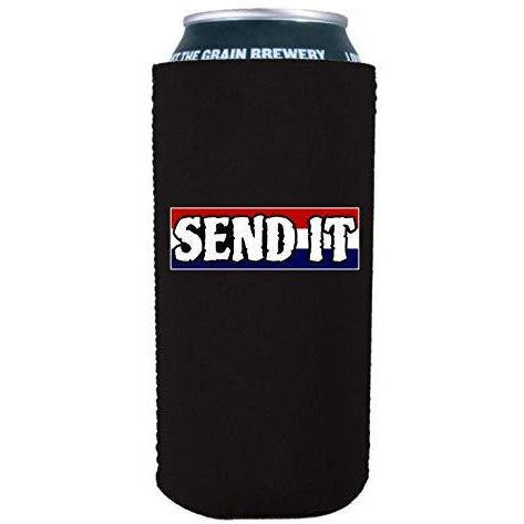 "Black 16oz can koozie with ""send it"" text with red white and blue background design"