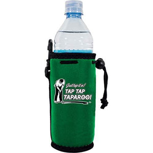 "green water bottle koozie with funny ""just tap it in taparroo"" text design and golfer putting graphic"