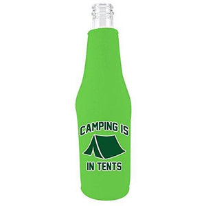 Bright green beer bottle koozie with funny camping is in tents design