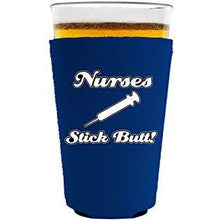 Load image into Gallery viewer, pint glass koozie with nurses stick butt design