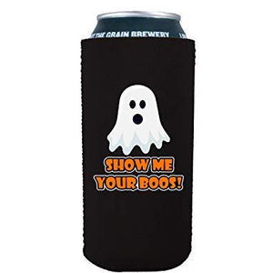 16 oz can koozie with show me your boos design