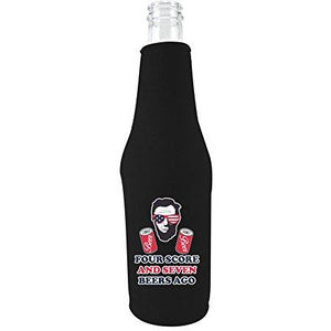 black zipper beer bottle koozie with four score and seven beers ago design