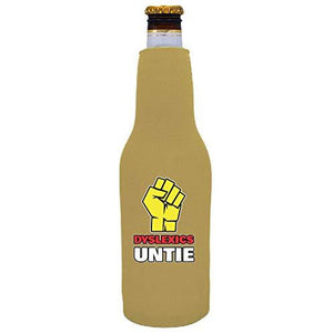 Dyslexics Untie Beer Bottle Coolie