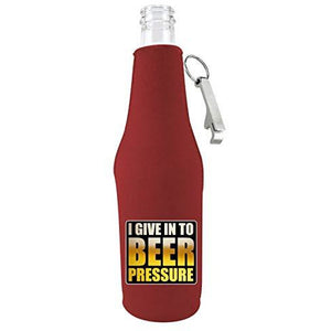 Beer Pressure Zipper Beer Bottle Coolie With Opener
