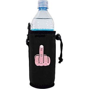 black water bottle koozie with middle finger graphic