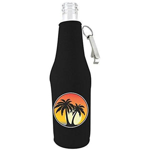 beer bottle koozie with opener with palm tree design
