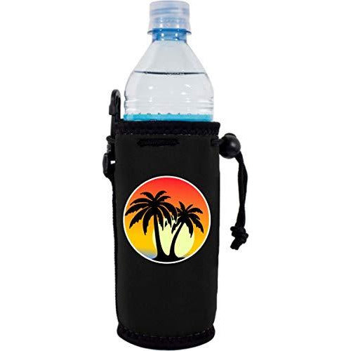 black water bottle koozie with palm tree sunset design