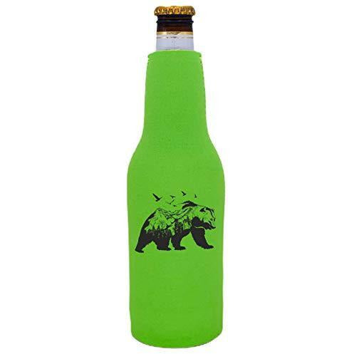 bright green beer bottle koozie with mountain bear graphic design