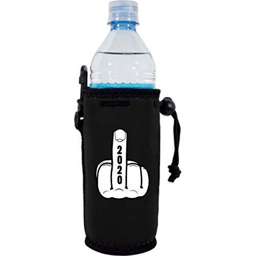 black water bottle koozie with 2020 middle finger design