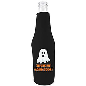 black zipper beer bottle koozie with show me your boos design