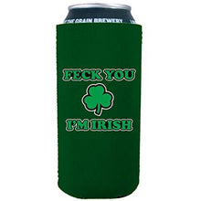 Load image into Gallery viewer, 16 oz can koozie design with feck you im irish design
