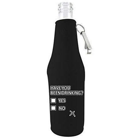 black zipper beer bottle koozie with opener and funny have you been drinking design