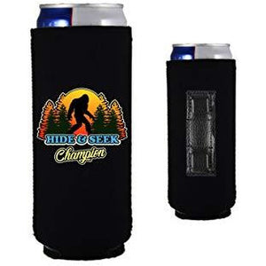 black magnetic slim can koozie with funny bigfoot hide and seek champion design