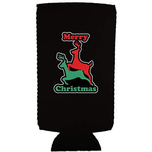 Merry Christmas Reindeer Humping Slim 12 oz Can Coolie