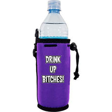 "Load image into Gallery viewer, purple drink up bitches water bottle koozie with ""drink up bitches"" funny text design"