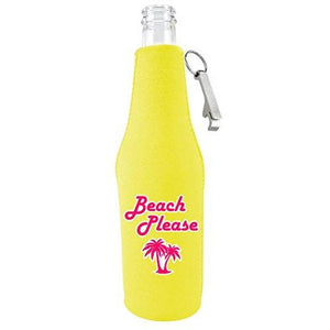 Beach Please Beer Bottle Coolie With Opener