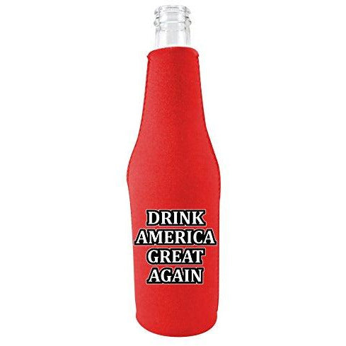red zipper beer bottle koozie with funny drink america great again design