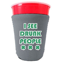 Load image into Gallery viewer, gray party cup koozie with i see drunk people design