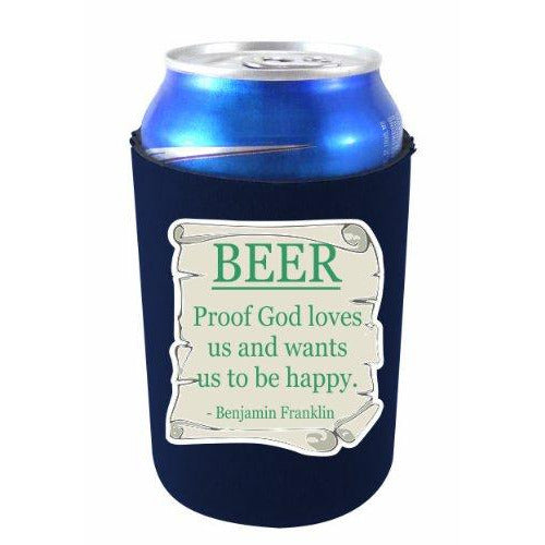 navy can koozie with