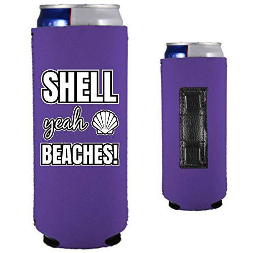 purple magnetic slim can koozie with shell yeah beaches funny text design