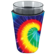 Load image into Gallery viewer, pint glass koozie with tie dye pattern design