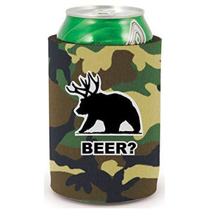 full bottom can koozie with beer bear design