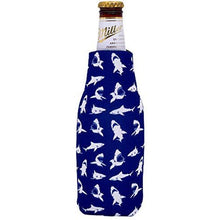 Load image into Gallery viewer, beer bottle koozie with shark pattern design